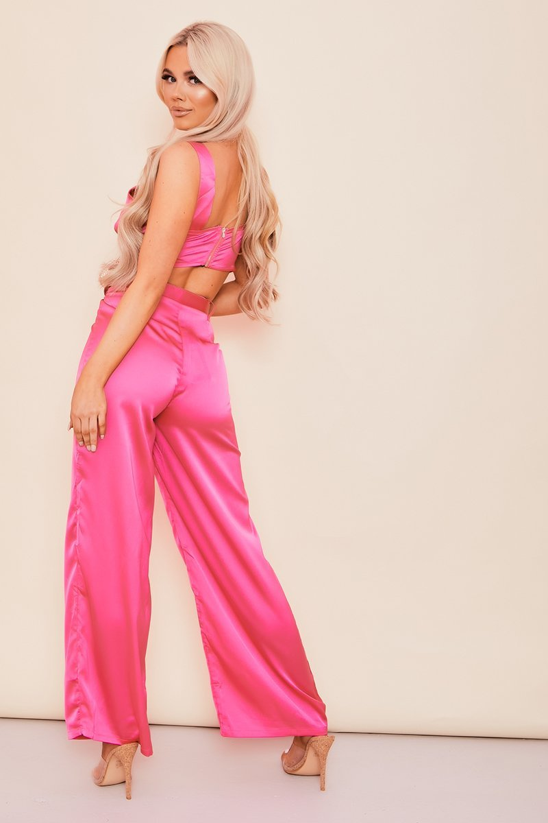 Hot Pink Wide Leg Satin Trousers With Western Belt - KATCH ME