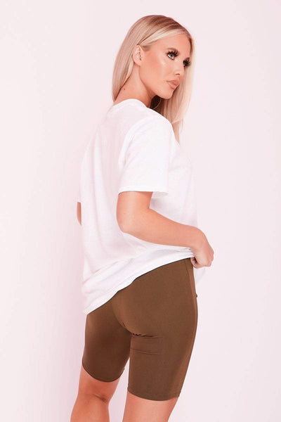 Khaki High Waist Slinky Cycling Shorts- Sadie - KATCH ME
