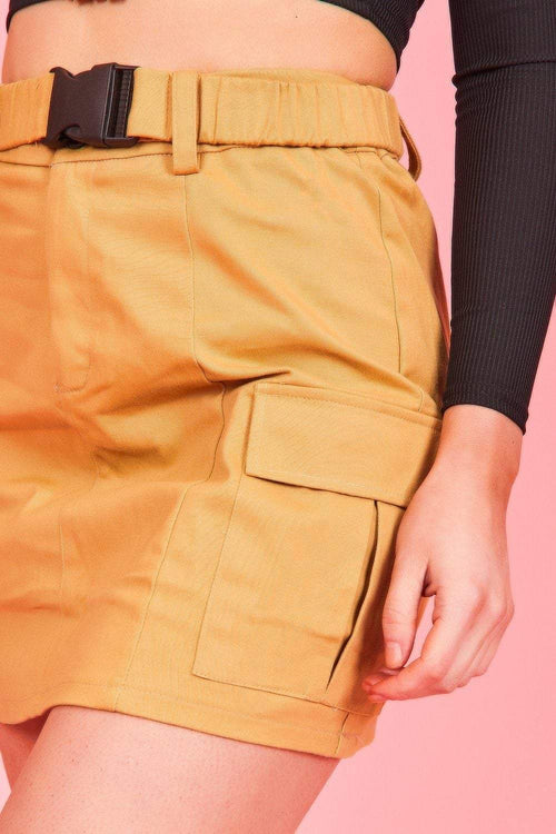 Light Sand Buckle Front Utility Skirt - KATCH ME