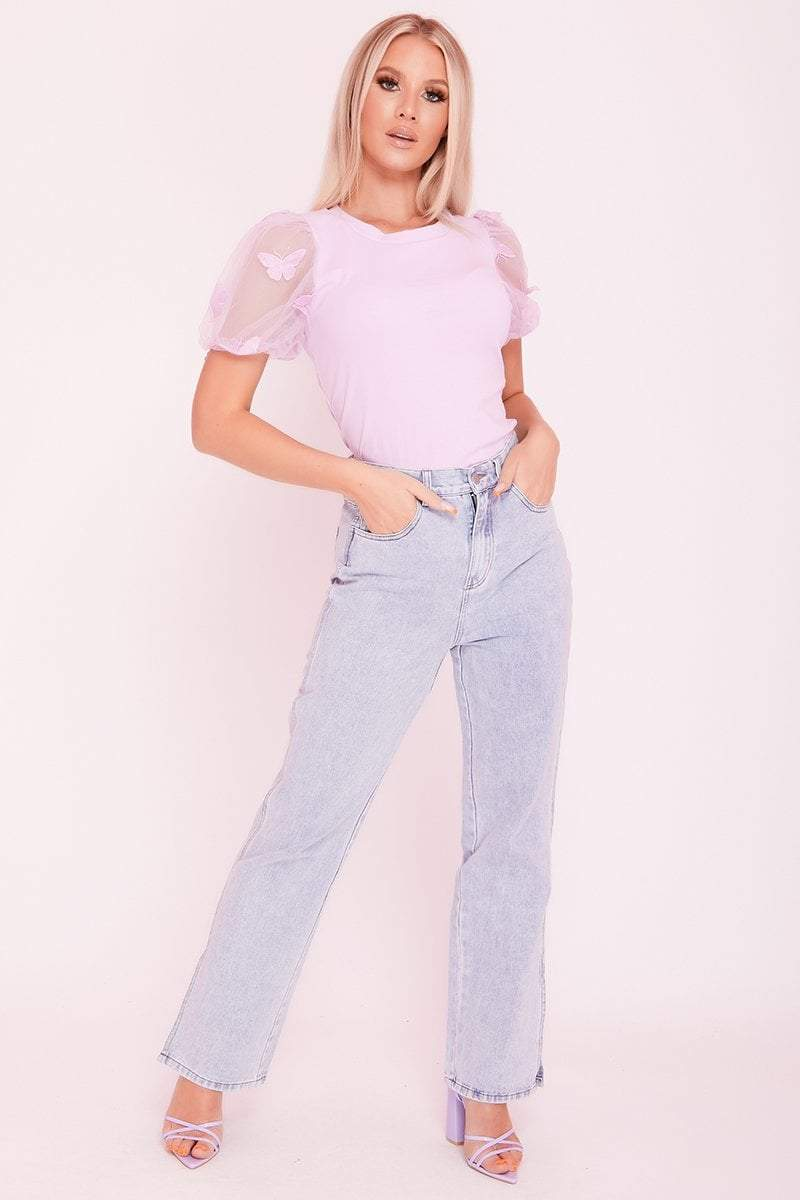Lilac Mesh Butterfly Embellished Puff Sleeve Top- Stella - KATCH ME