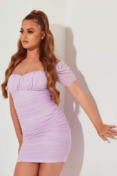 Lilac Mesh Puff Sleeve Mini Dress - Abbie - KATCH ME