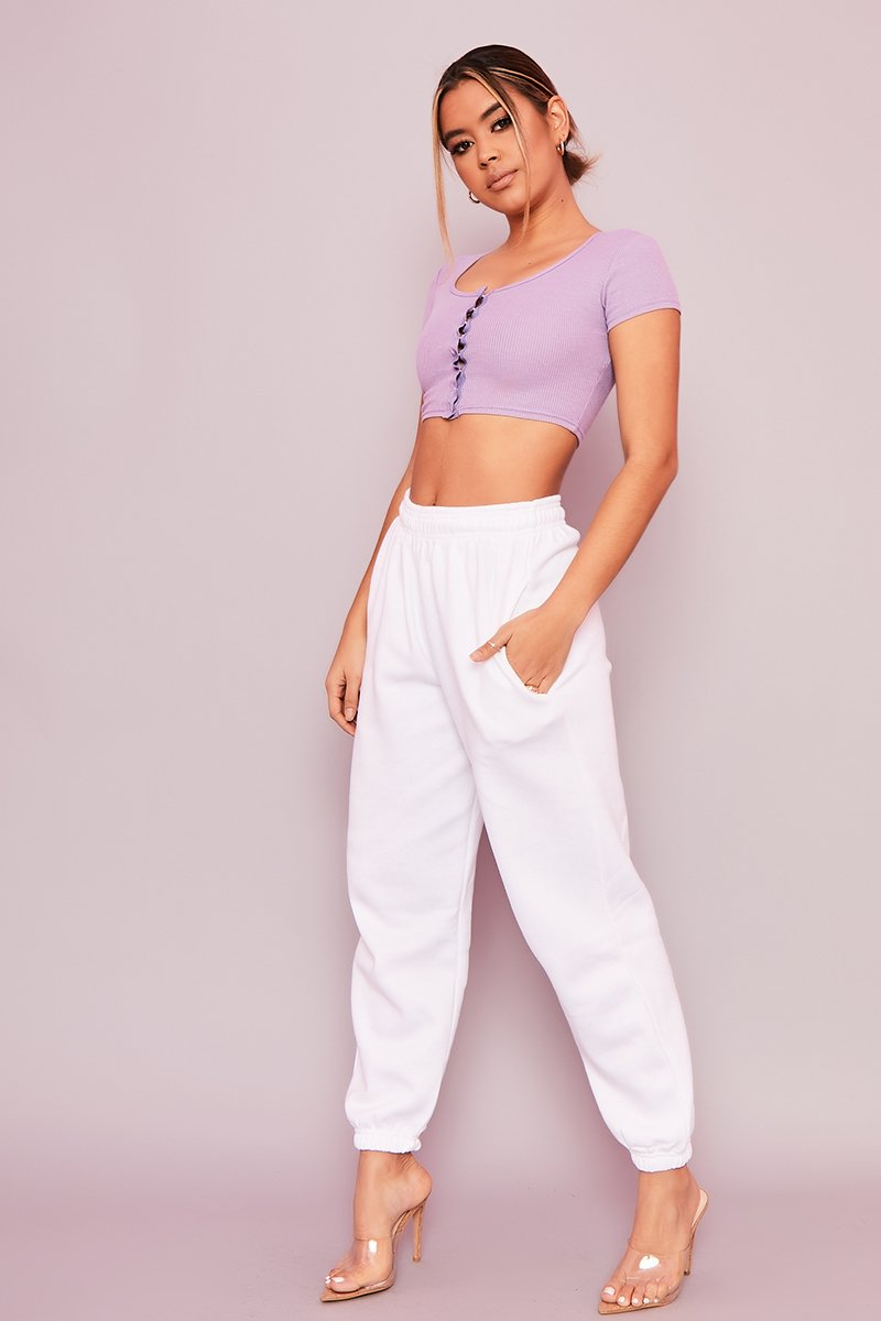 Lilac Ribbed Crop Top - Joelle - KATCH ME