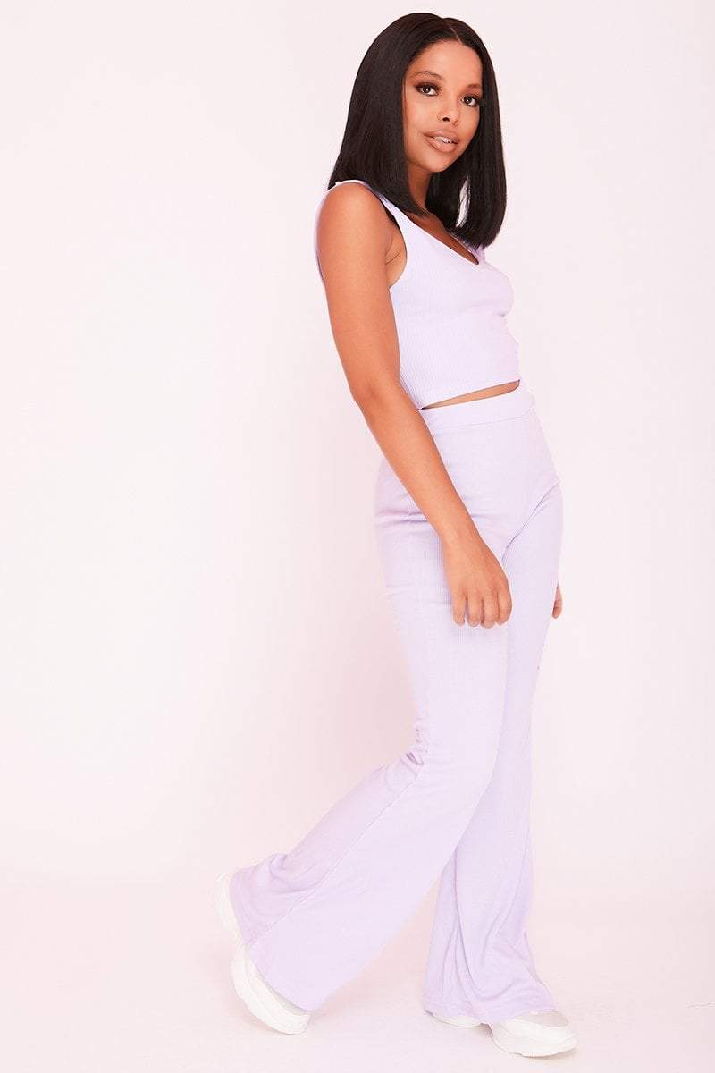 Lilac Ribbed High Waist Flared Trousers- Emily - KATCH ME