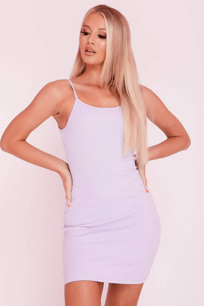 Lilac Ribbed Scoop Neck Mini Dress- Kennedy - KATCH ME