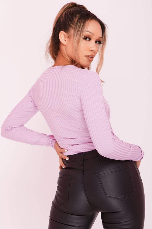 Lilac Ribbed Underwire Long Sleeve Bodysuit - KATCH ME