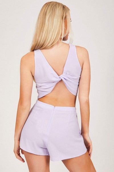 Lilac Twist Front Crop & Shorts Co-rd - KATCH ME