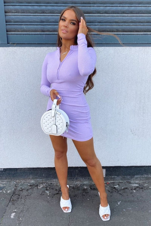Lilac Zip Front Mini Dress- Siobhan - KATCH ME