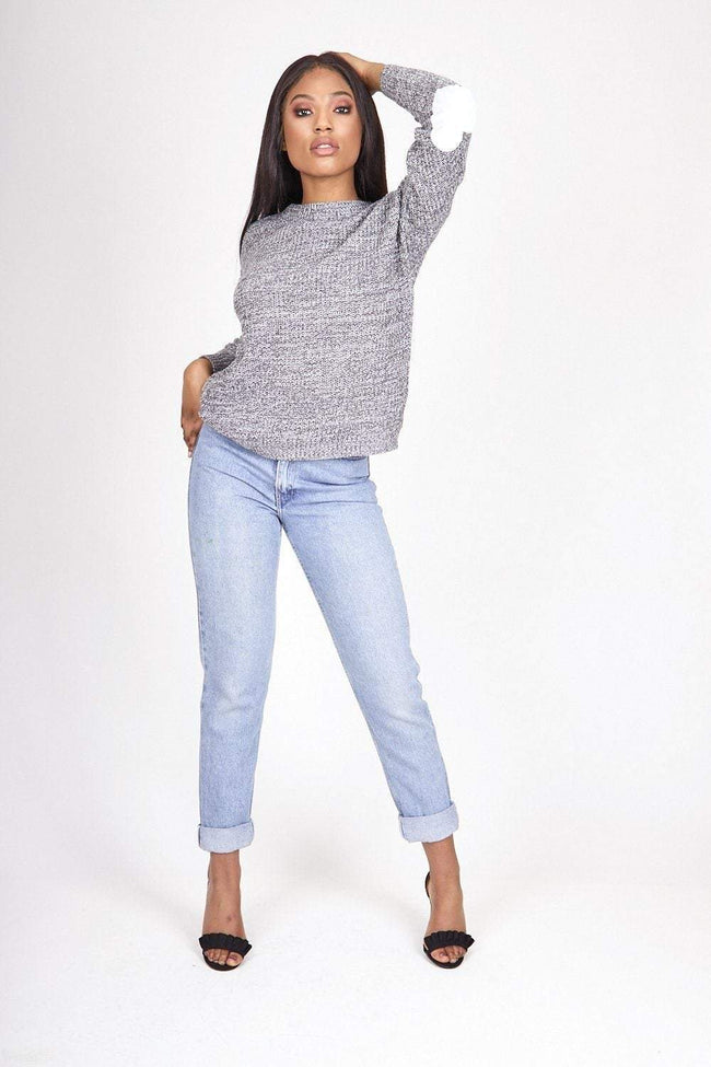 Love Me Grey Knitted Heart Jumper - KATCH ME