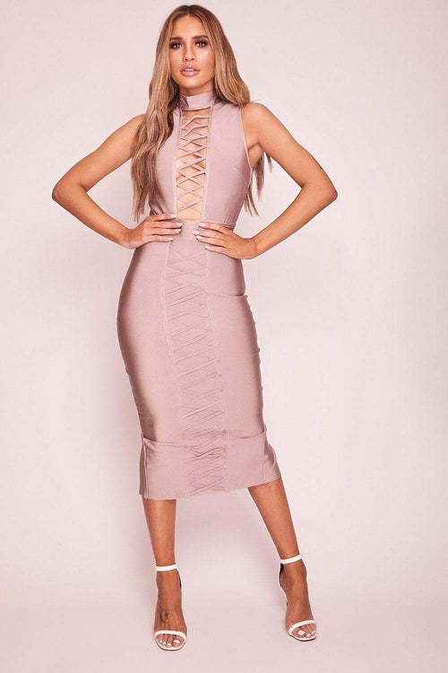 Mink Bandage Plunge Midaxi Dress - KATCH ME