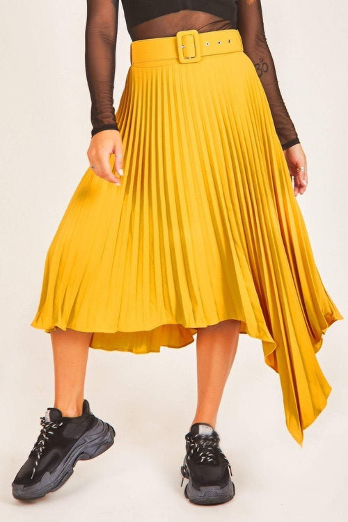 Mustard Asymmetric Pleated Skirt - KATCH ME