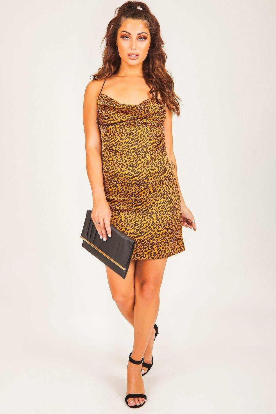 Mustard & Black Leopard Print Mini Dress - KATCH ME