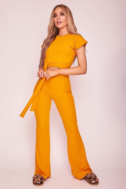 Mustard Ribbed Wide Leg Trousers - KATCH ME