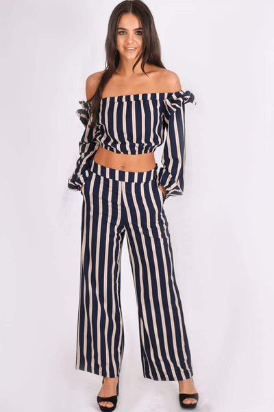 Navy & Cream Bardot Stripe Co-ord - KATCH ME