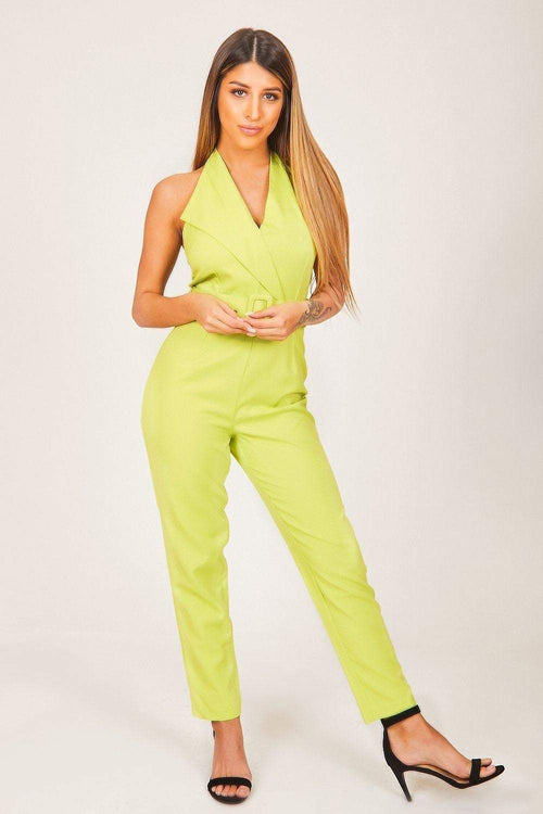 Neon Green Belted Jumpsuit - KATCH ME