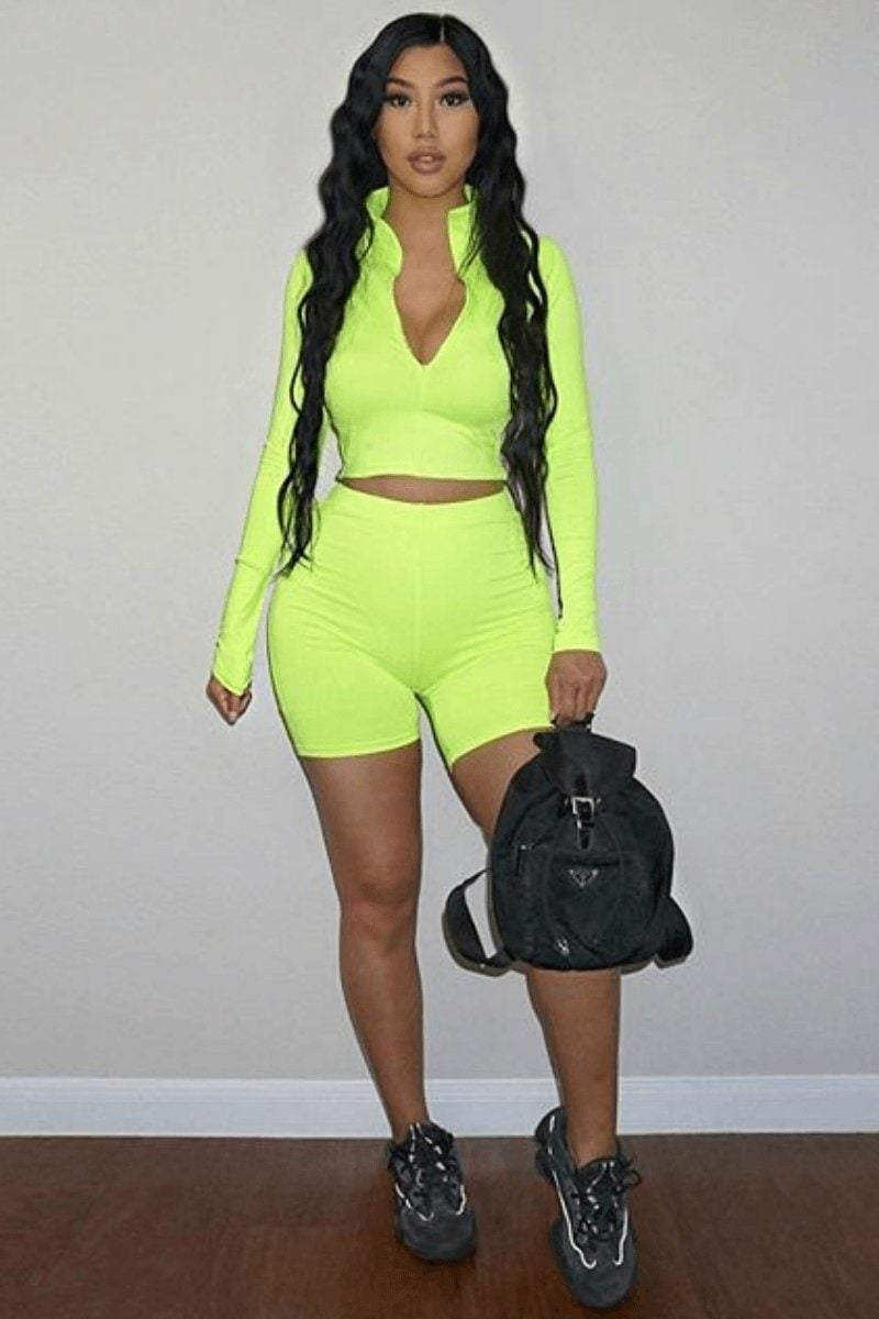 Neon Green Cropped Jacket Top - KATCH ME