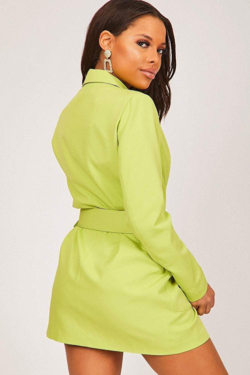 Neon Green Double Breasted Blazer Dress - KATCH ME