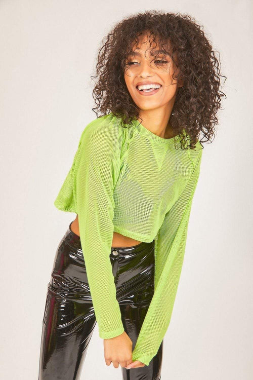 Neon Green Fishnet Cropped Jumper - KATCH ME
