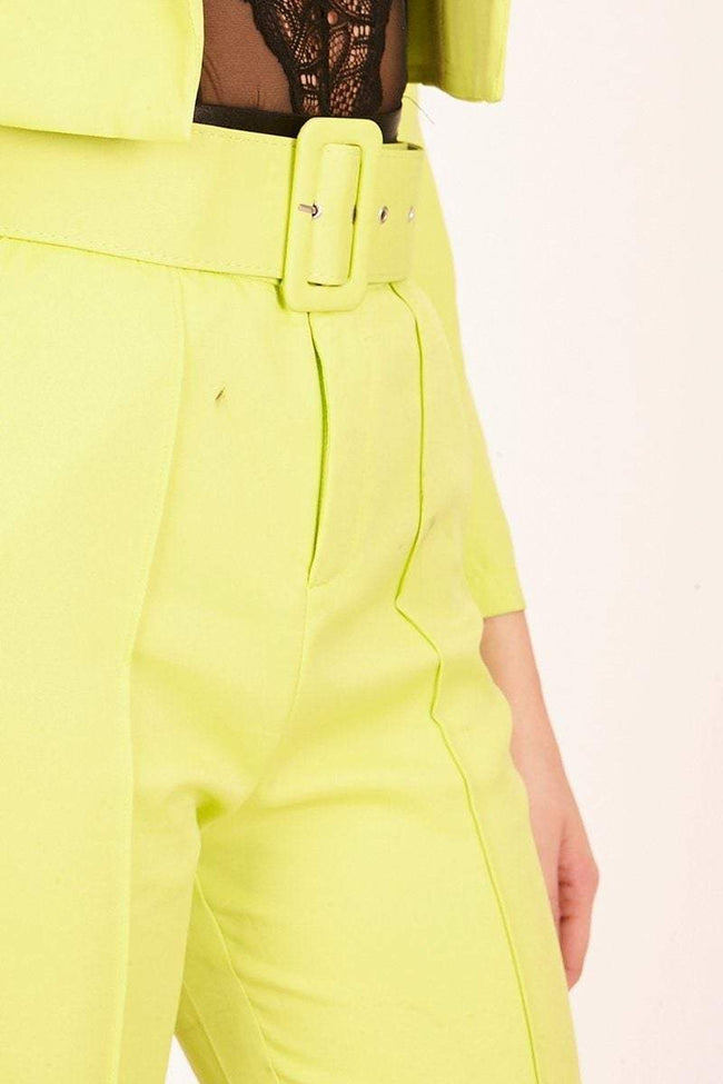 Neon Green Front Seam Cigarette Trousers - KATCH ME