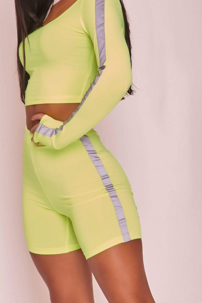 Neon Green Reflective Cycling Shorts - KATCH ME