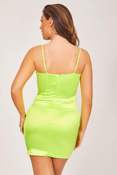 Neon Green Satin Mini Dress with Gold Clasp - KATCH ME