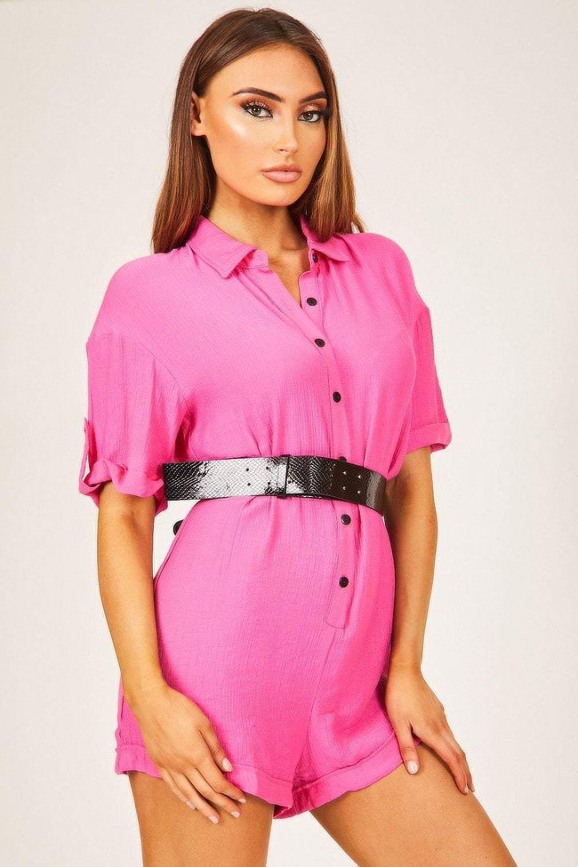 Neon Pink Button Up Playsuit - KATCH ME
