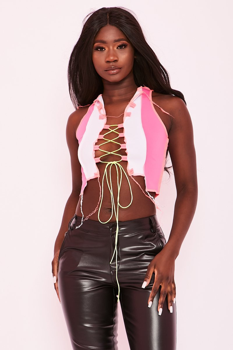 Neon Pink Lace Up Crop Top - Ivana - KATCH ME
