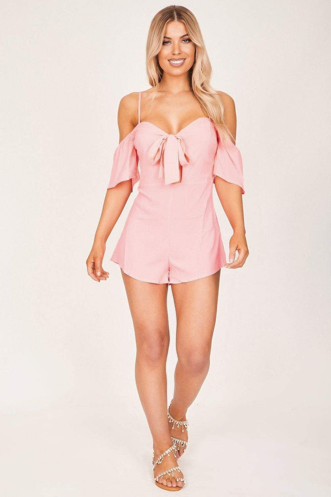 Neon Pink Off The Shoulder Tie Front Playsuit - KATCH ME