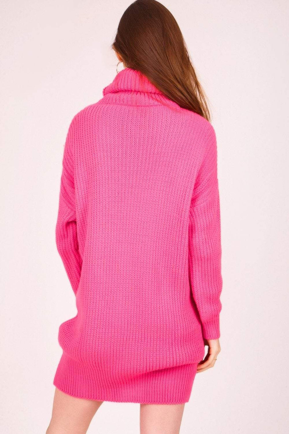 Neon Pink Oversized Jumper Dress - KATCH ME