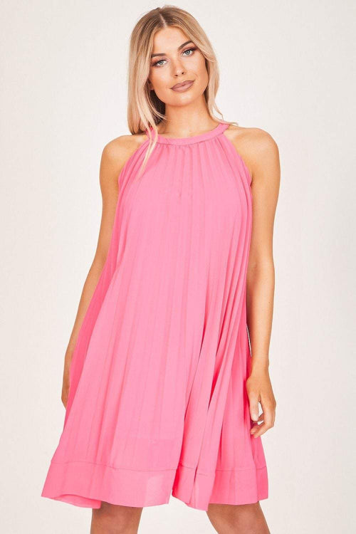 Neon Pink Pleated Swing Dress - KATCH ME