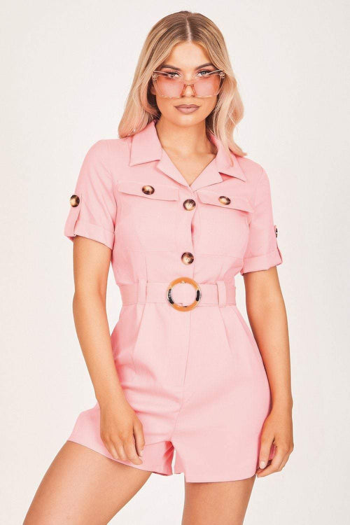 Neon Pink Statement Button Playsuit - KATCH ME