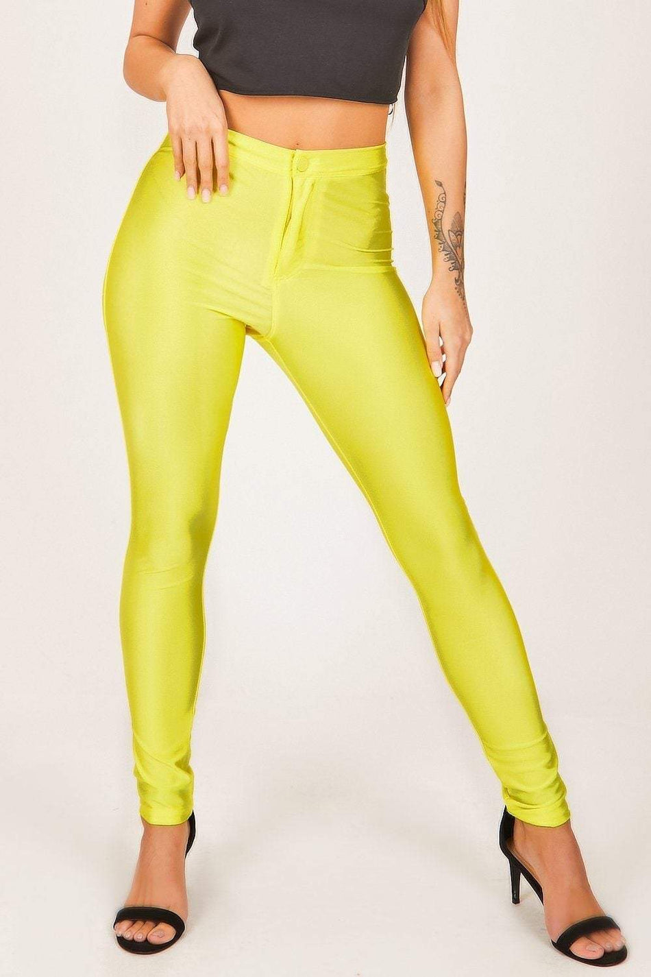 Neon Yellow Disco Leggings - KATCH ME