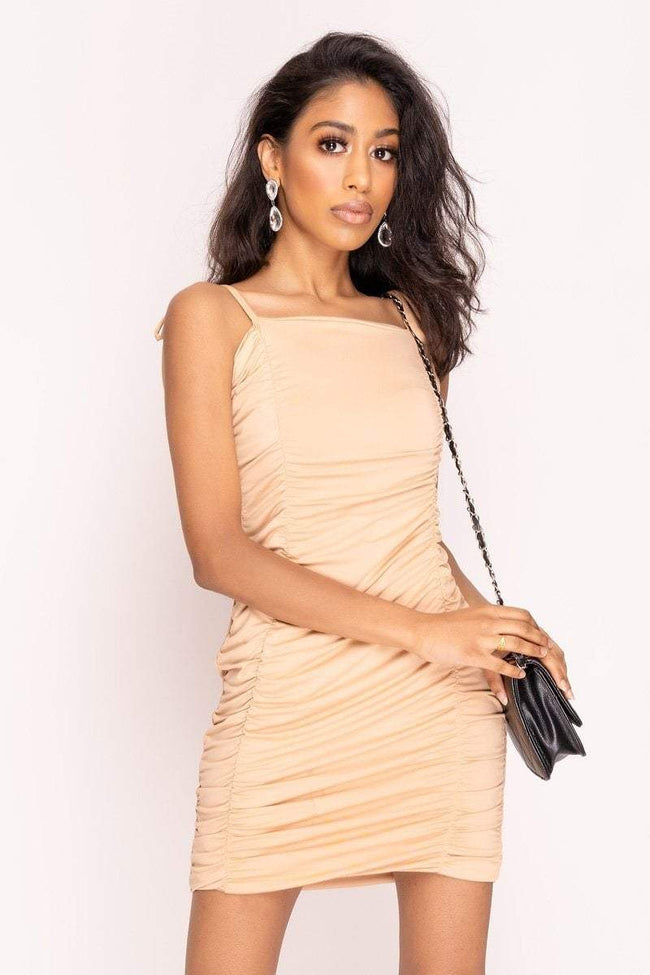 Nude Extreme Ruched Mini Dress - KATCH ME
