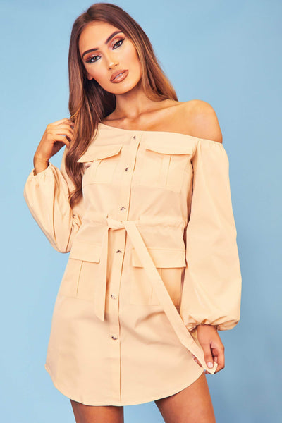 Nude Off The Shoulder Button Up Dress - KATCH ME