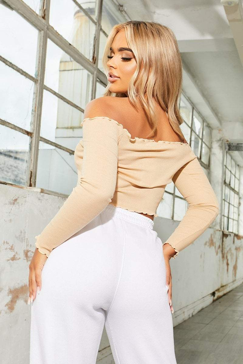Nude Ribbed Long Sleeve Crop Top - Camryn - KATCH ME