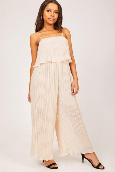Nude Wide Leg Sheer Crepe Jumpsuit - KATCH ME