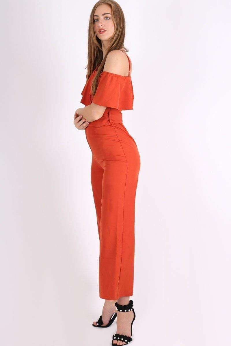 Orange Cold Shoulder Belted Jumpsuit - KATCH ME