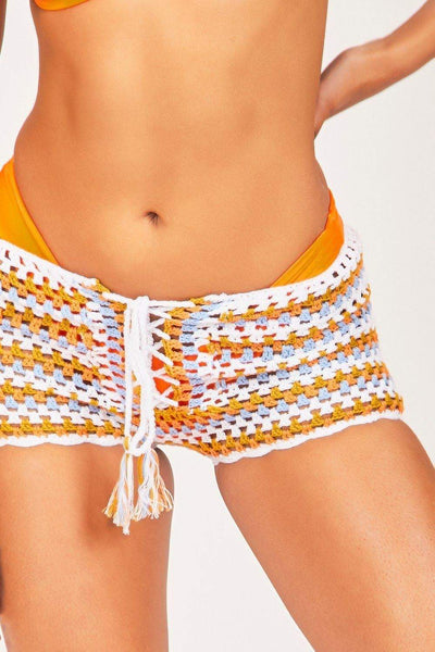 Orange Knitted Tie Front Shorts - KATCH ME