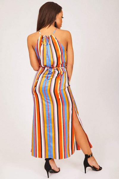 Orange Multi Colour Strappy Maxi Dress - KATCH ME