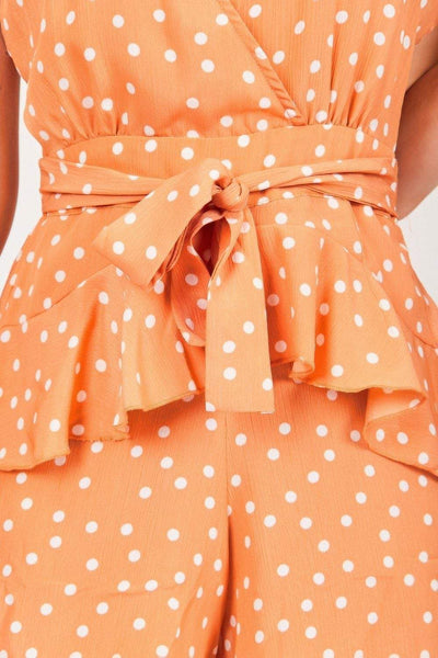 Orange Polka Dot Backless Playsuit - KATCH ME