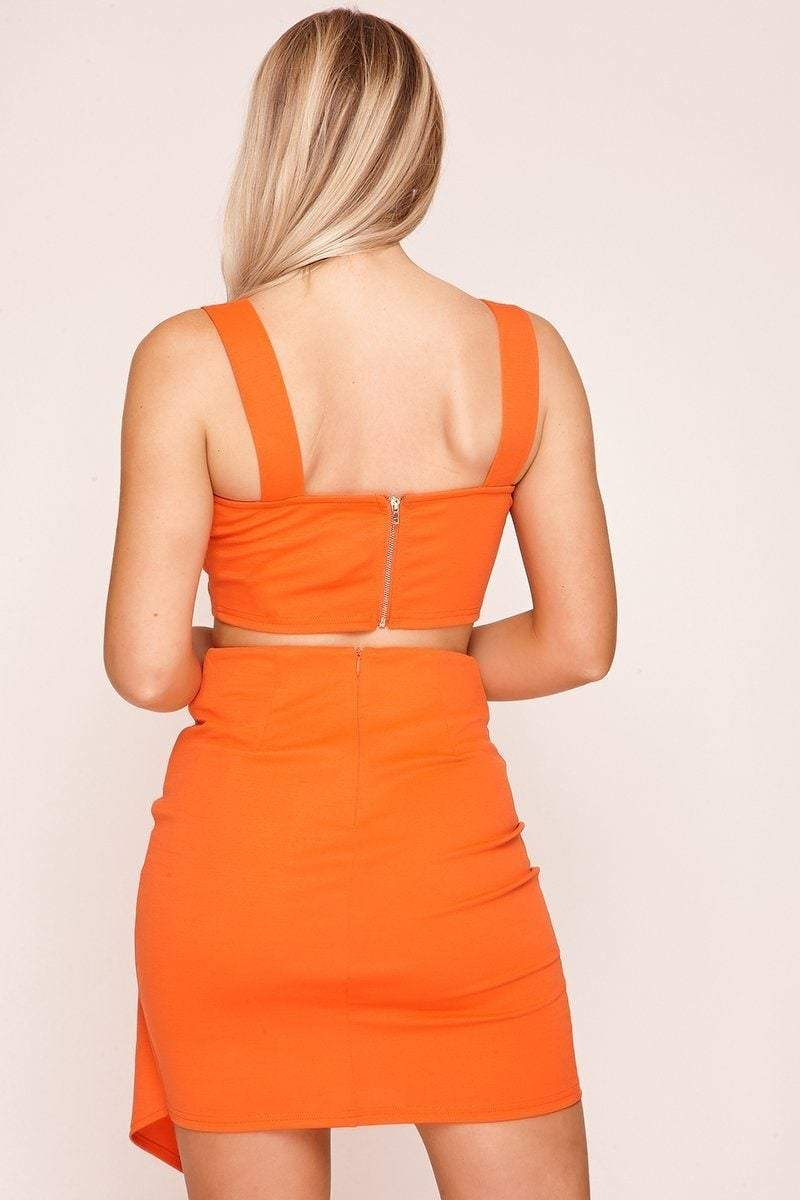Orange Wrap Skirt with Gold Detailing - KATCH ME