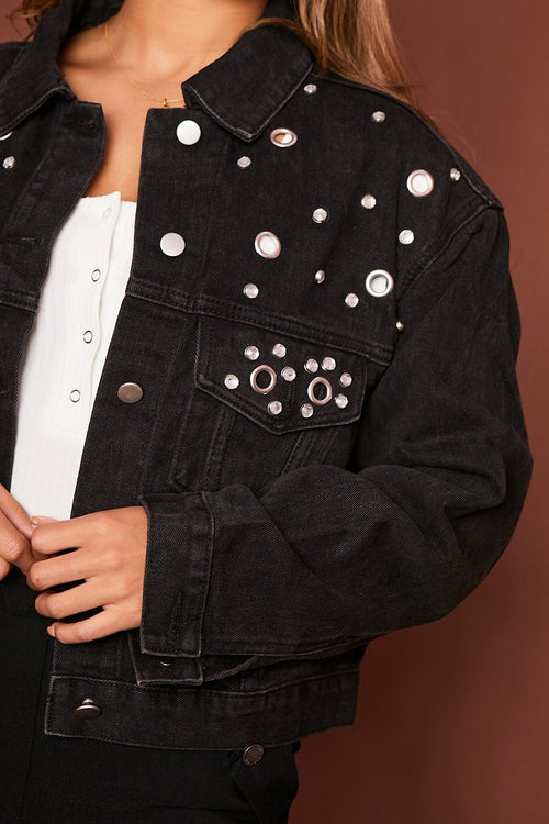 Oversized Black Studded Denim Jacket - KATCH ME