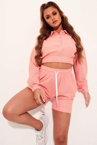Peach Jersey Polo Top & Shorts Co-ord- Therese - KATCH ME