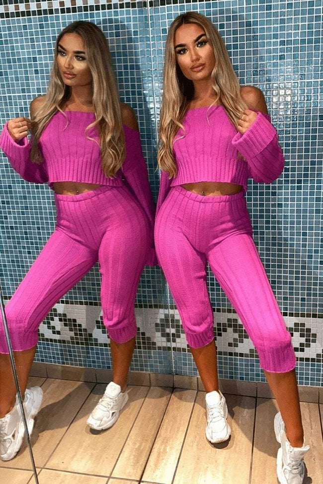 Pink Bardot Ribbed Loungewear Set - KATCH ME
