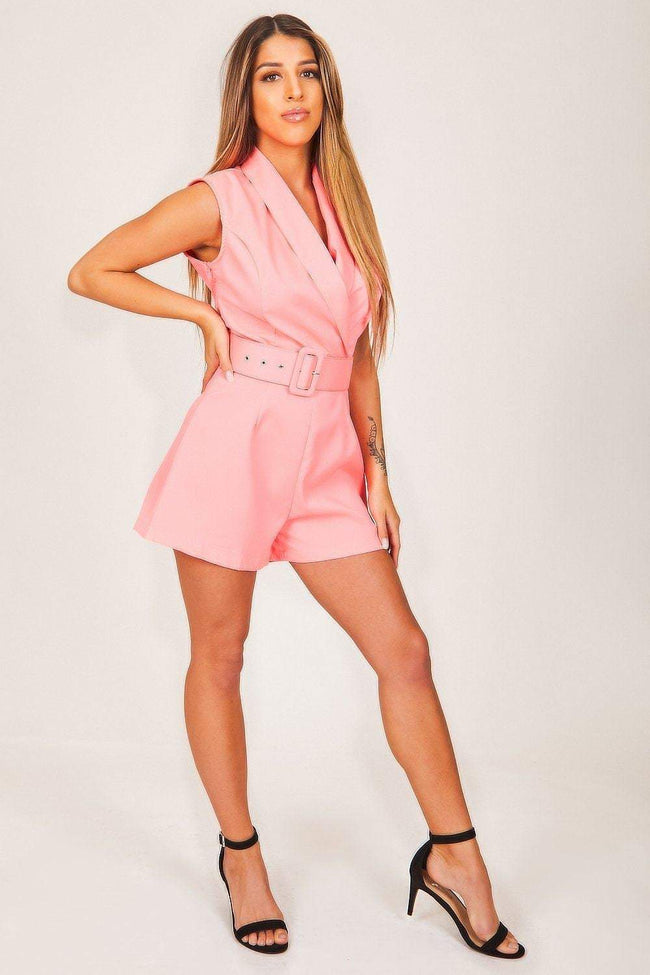 Pink Belted Playsuit - KATCH ME