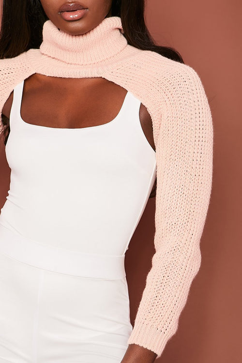 Pink Chunky Knit Arm Warmer Top - Effie - KATCH ME
