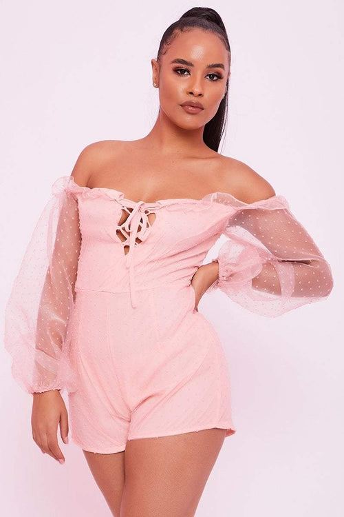 Pink Dobby Mesh Lace Up Playsuit - Adeen - KATCH ME