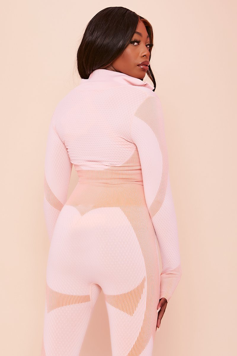 Pink Embossed Panel Crop Jacket - Bonny - KATCH ME