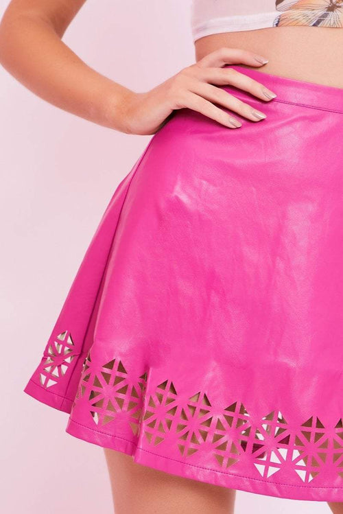 Pink Faux Leather Skater Skirt - Kiera - KATCH ME