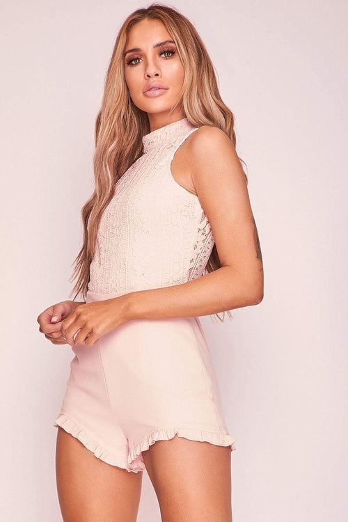 Pink High Neck Lace Playsuit - KATCH ME