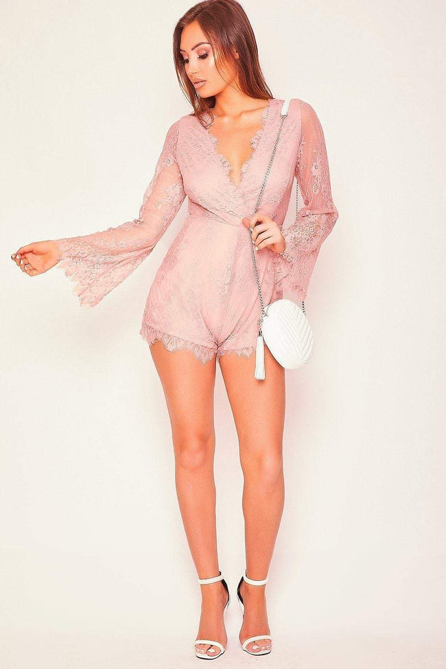 Pink Lace Flared Sleeve Playsuit - KATCH ME
